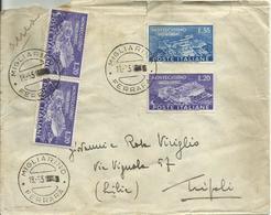 R.C.187-Lettera Posta Aerea Per La Libia Con 3x20 £ + 55 £ Montecassino 18.6.1951 (tar. 55+30x2) - 6. 1946-.. República