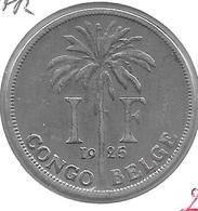 *Belgian Congo 1 Franc  1925 French  Km 20  Vf - 1910-1934: Albert I