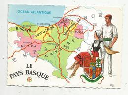 Cp , Carte Géographique, France/Espagne , LE PAYS BASQUE ,vierge , Ed. Cely ,n° 1865 - Landkarten
