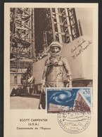 T 351) Frankreich FRA 1963 Mi# 1443 FDC MC MK: Radioteleskop, Raumfahrt, Kosmonaut Scott Carpenter - FDC & Commemoratives