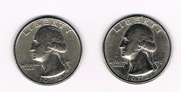 U.S.A.  WASHINGTON 2 X 1/4 DOLLAR  1974 + 1974 D - Émissions Fédérales
