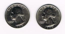 U.S.A.  WASHINGTON 2 X 1/4 DOLLAR  1978/79 - Émissions Fédérales