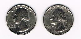 U.S.A.  WASHINGTON 2 X 1/4 DOLLAR  1980 D + 1980 P - Émissions Fédérales