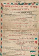 Comptoir Des Articles De Fêtes. Tarif 1er Mai 1952. Drapeaux, Cocardes, Attributs Pour Conscrits, Insignes, Drapeaux. - Pubblicitari