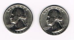 U.S.A.  WASHINGTON 2 X 1/4 DOLLAR  1981 D + 1981 P - Émissions Fédérales