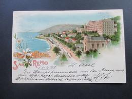 Un Fiore Da San Remo 1899 Hotel Royal. Nach Metzeral Elsass Mit AK Stempel. Stamp Louis Glaser, Leipzig - Hotels & Gaststätten