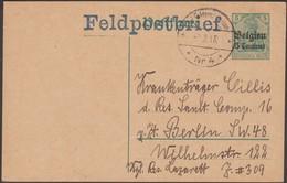 Belgique 1915 Carte Postale Franchise Militaire, Entier D'occupation Surchargé Feldpostbrief Pour Soldat Allemand. Rare - German Occupation