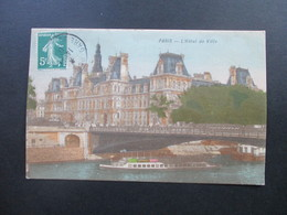 AK 1909 Paris L'Hotel De Ville. Stempel: Paris Gare Du Süd Ou....Bildseitig Frankiert! - Hotels & Gaststätten