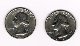 U.S.A.  WASHINGTON 2 X 1/4 DOLLAR  1987 D + 1987 P - Émissions Fédérales
