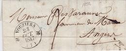 18939# ARDENNES LETTRE Obl VOUZIERS 1847 T12 Pour ANGERS MAINE ET LOIRE - 1801-1848: Precursors XIX