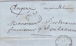 18940# ARDENNES LETTRE Obl VOUZIERS 1852 T12 TAXE 25 DOUBLE TRAIT Pour ANGERS MAINE ET LOIRE - 1849-1876: Classic Period