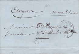 18941# ARDENNES LETTRE Obl VOUZIERS 1852 T12 TAXE 25 DOUBLE TRAIT Pour ANGERS MAINE ET LOIRE - 1849-1876: Classic Period
