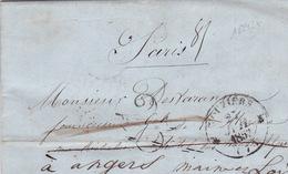 18942# ARDENNES LETTRE REEXPEDITION Obl VOUZIERS 1852 T12 TAXE 25 DOUBLE TRAIT Pour PARIS Puis ANGERS MAINE ET LOIRE - 1849-1876: Classic Period