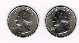 U.S.A.  WASHINGTON 2 X 1/4 DOLLAR  1990 D + 1990 P - Émissions Fédérales