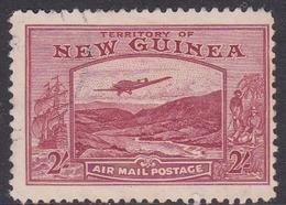 New Guinea Scott C56 1939 Air Plane, Two Shillings Carmine Lake, Used - Papua New Guinea