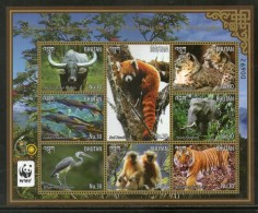 Bhutan 2015 WWF Panda Leopard Tiger Langur Wildlife Animals Birds M/s MNH # 7864 - W.W.F.