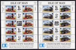 GB ISLE OF MAN IOM - 1992 UNION PACIFIC RAILROAD SHEETLET PAIR EX SOUVENIR FOLDER FINE MNH ** - Isle Of Man