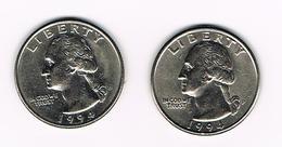 U.S.A.  WASHINGTON 2 X 1/4 DOLLAR  1994 D + 1994 P - Émissions Fédérales