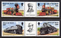 GB ISLE OF MAN IOM - 1992 UNION PACIFIC RAILROAD SET (4V) IN HORIZONTAL PAIRS WITH LABEL FINE MNH ** SG 522a, 524a - Trains