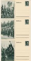 1937, Hitler, 3 Farbige Propaganda- GA -Karten , #a579 - Deutschland