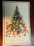 16268) AUGURALE BAMBINI INTORNO AD ALBERO DI NATALE PINOCCHIO ILLUSTRATORE FORSE MARIA PIA VIAGGIATA 1941 - Natale