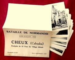 POCHETTE BATAILLE DE NORMANDIE 1944 CHEUX Près CAEN CALVADOS 14 Photos DELASSALLE - Caen
