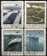 Flugzeug China 341/4 O 7€ Start 1957 Gebirge Eisenbahn-Linie Dampfer Flugpost Startbahn Air Mail Set Of Chine CINA - 1949 - ... République Populaire