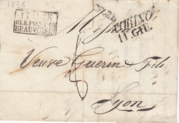 Marque D'entrée Italie P. Le Pont De Beauvoisin  Correspondance Sarde  Rayon 2  Turin 11 Juin 1828 - Postmark Collection (Covers)