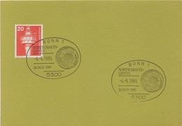 Postkarte Drucksache Ganzsache Deutsche Bundespost Briefmarke 20 Pfennig Leuchtturm Stempel Bonn Wirtschaftsgipfel 1985 - BRD