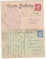 Timbres 45c Rouge (cachet Convoyeur) Et 75c Bleu PASTEUR Seul / Carte Postale étranger (Suisse) Tarifs De 1924 Et 1926 - Marcofilie (Brieven)