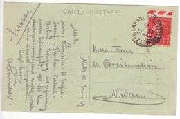 SEMEUSE 1F05 Surcharge 90c Bord De Feuille Seul / CP (portail Gare Centrale) étranger METZ R. LAFAYETTE MOSELLE 1927 - Marcofilie (Brieven)