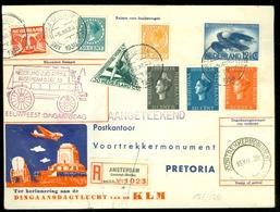 LP * NEDERLAND ZUID AFRIKA K.L.M. Dingaansvlucht 6/12/38 * AANGETEKEND PRETORIA V.v. ANTWERPEN BELGIE  (11.145k) - Periode 1891-1948 (Wilhelmina)