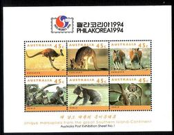 1994 - Australian KANGAROOS & KOALAS Minisheet Minature Sheet MNH Overprint PHILAKOREA - Blocks & Sheetlets