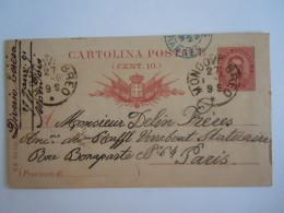 Italie Italia Entier Postal Stationary Cartolina 1891 Mondovi Breo  -> Paris - 1878-00 Umberto I
