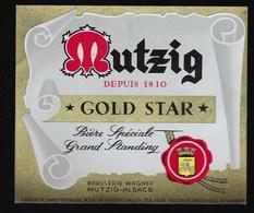 étiquette Bière  Mutzig   Depuis 1810 Gold Star Spéciale  Grand Standing  Brasserie Wagner Mutzig Alsace - Bière
