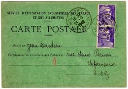 TàD T.A4 MOLIERES TARN Et GARONNE 24.9.1948 S/ 4 F Mar. De Gandon Violet Clair (x2) CP Culture Du Tabac - 1921-1960: Moderne