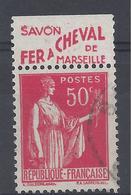 PAIX N° 283 - Avec BANDE PUB - Savon De Marseille Fer à Cheval - Oblitéré - Publicités