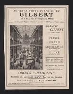Pub Papier 1924 Piano Instrument Musique Pianos GILBERT Orgue Melodian Magasin - Advertising