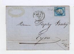 Timbre Sur Lettre: Céres N° 60, Type 2, Obltitération Gros Points. (509) - Marcophilie (Lettres)
