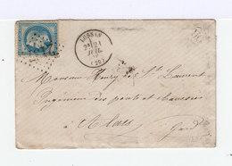 Timbre Napoléon 20 C. Bleu N° 29, Sur Enveloppe. Cachet OR, En Partie Effacé. (510) - Marcophilie (Lettres)