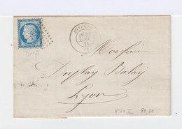 Timbre Sur Lettre Céres 25 C Bleu N°60, Type II. Oblitération Petis Points.CAD Joyeuse 1874. (512) - Marcophilie (Lettres)