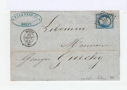 Timbre Sur Lettre Napoléon III 20 C. Bleu . Oblitéré Losange. CAD Brest 1854 (513) - Marcophilie (Lettres)