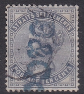 Malaysia-Straits Settlements SG 53 1882 Queen Victoria 10c Slate, Used - Straits Settlements