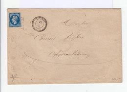 Timbre Sur Enveloppe Napoléon III 20 C Bleu Obl. Losange. CAD Souppes  Type 22 Perlé1861. (514) - Marcophilie (Lettres)