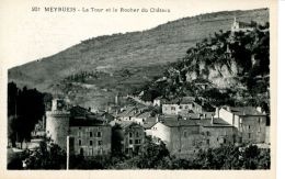 N°62589 -cpa Meyrueis -la Tour Et Le Rocher Du Château- - Meyrueis
