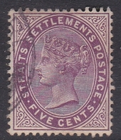 Malaysia-Straits Settlements SG 100 1899 Queen Victoria 5c Magenta, Used - Straits Settlements
