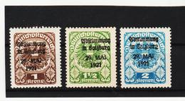 AUA1217 ÖSTERREICH 1921 Michl 313/15 LOKALAUSGABE SALZBURG Geprüft FALZ - 1918-1945 1. Republik