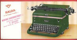"""Buvard Ancien """" HALDA """" MODERNE KANTOORUITRUSTING P.BILLIAU à IEPER (Belgique) Machine à Ecrire  Fabrication Suédoise - Buvards, Protège-cahiers Illustrés"""