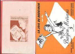 2 Buvards Anciens F.BARJON MOIRANS - LA MARQUE DES CONNAISSEURS -  Cahiers   Illustration D'après RENE VINCENT - Stationeries (flat Articles)