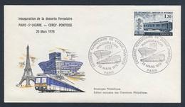 France Rep. Française 1979 Cover / Brief / Enveloppe - Inaug. Rail Service Paris-St.-Lazare - Cergy - Pontoise/Eisenbahn - Treinen